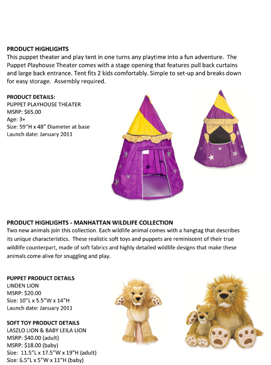 Extraordinary Children Deserve Extraordinary Toys: Manhattan Toy® Unveils this Year's New Soft Toys and Puppet Designs pg 3