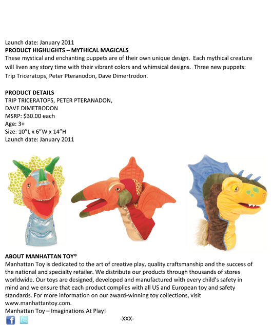 Extraordinary Children Deserve Extraordinary Toys: Manhattan Toy® Unveils this Year's New Soft Toys and Puppet Designs pg 4n