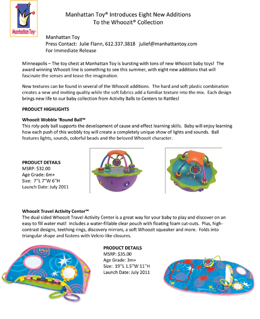 Manhattan Toy® Introduces Eight New Whoozit® Toys pg 1