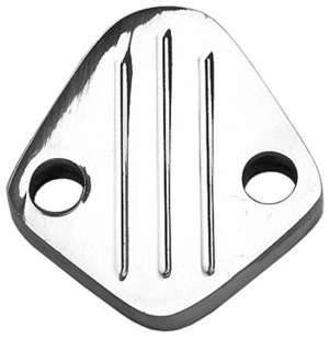 "FUEL PUMP BLOCK-OFF; BB Chevy 396-454, V6 (1-3/4"" centers); PINSTRIPES-ALUMINUM picture"