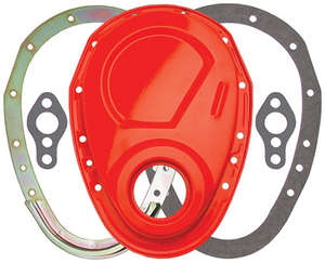 CHEVY ORANGE 2-Piece Timing Chain Cover Set- SB Chevy V8 (not for LT1) picture