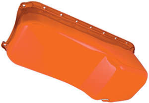 "1955-79 SB Chevy 283-400 Powder Coated ""OEM STYLE"" Oil Pan-CHEVY Orange (4 Qt) picture"