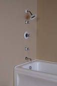 THERMOSTATIC TUB & SHOWER SET WITH PORCELAIN & CHROME TRIM