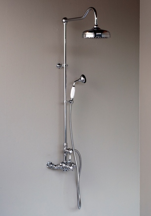 CHROME EXPOSED SHOWER SET WITH HANDHELD SHOWER - CAL GREEN COMPLIANT picture