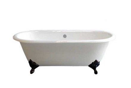 CAST IRON 5' DUAL TUB ON LEGS WITHOUT FAUCET HOLES.  INCLUDES OIL RUBBED BRONZE LEGS picture