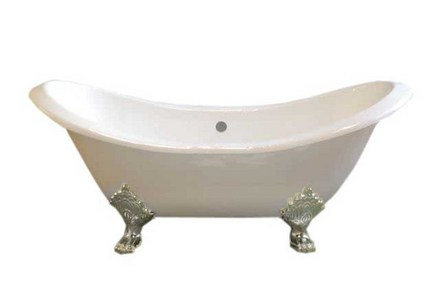 CAST IRON 6' DOUBLE ENDED SLIPPER TUB W/O FAUCET HOLES.  INCLUDES POLISHED NICKEL LEGS picture
