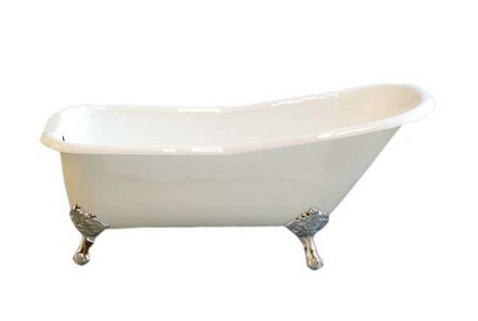 """CAST IRON 5 1/2"""" SLIPPER TUB W/O FAUCET HOLES AND CHROME LEGS picture"""