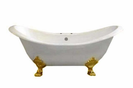 """CAST IRON 6' DOUBLE ENDED SLIPPER TUB W/7"""" CENTER FAUCET HOLES & SUPERCOAT BRASS LEGS picture"""