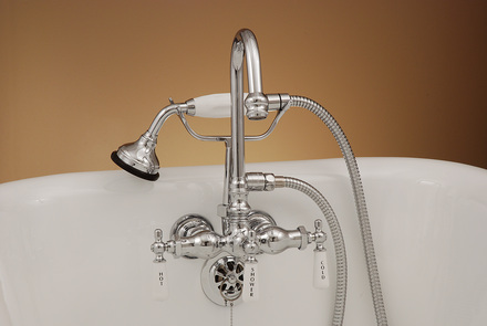 CHROME LEG TUB FAUCET WITH HANDHELD SHOWER picture