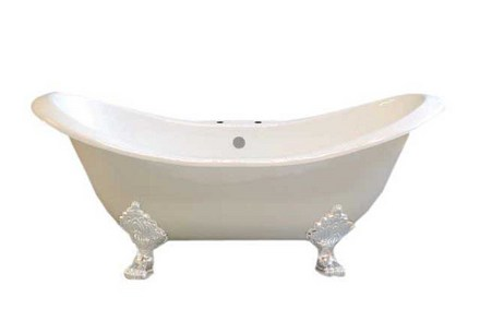 """CAST IRON 6' DOUBLE ENDED SLIPPER TUB W/7"""" CENTER FAUCET HOLES & WHITE LEGS picture"""