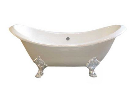 CAST IRON 6' DOUBLE ENDED SLIPPER TUB W/O FAUCET HOLES.  INCLUDES WHITE LEGS picture