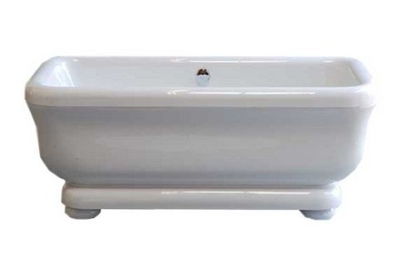 """ACRYLIC 70"""" TUB WITH PEDESTAL ON LEGS, WITHOUT FAUCET HOLES. INCLUDES CHROME DRAIN TRIM picture"""