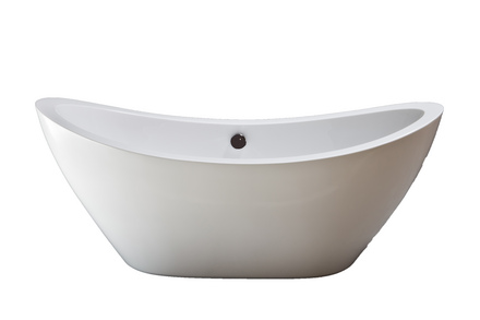 "ACRYLIC 65"" TUB WITHOUT FAUCET HOLES.  INCLUDES OIL RUBBED BRONZE FINISH DRAIN TRIM picture"