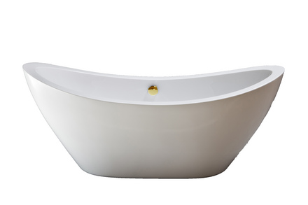 """ACRYLIC 65"""" TUB WITHOUT FAUCET HOLES.  INCLUDES SUPERCOAT BRASS DRAIN TRIM picture"""