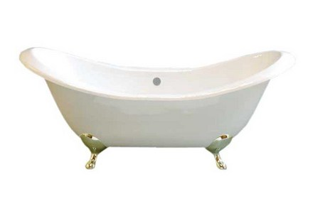 CAST IRON 6' PEG LEG DOUBLE ENDED SLIPPER TUB W/O FAUCET HOLES.  INCLUDES POLISHED NICKEL LEGS picture