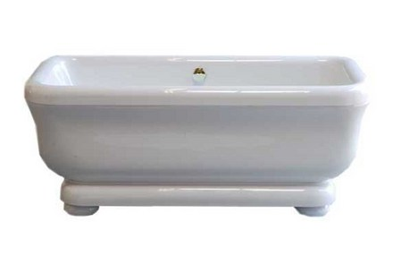 """ACRYLIC 70"""" TUB WITH PEDESTAL ON LEGS, WITHOUT FAUCET HOLES. INCLUDES POLISHED NICKEL DRAIN TRIM picture"""