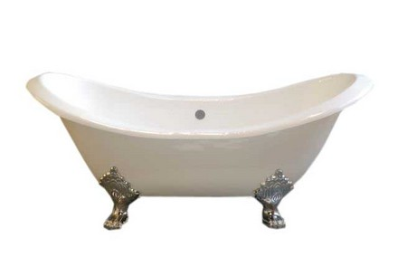 CAST IRON 6' DOUBLE ENDED SLIPPER TUB W/O FAUCET HOLES.  INCLUDES CHROME LEGS picture