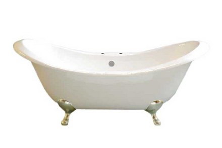 "CAST IRON 6' PEG LEG DOUBLE ENDED TUB WITH 7"" CENTER DECK MOUNT FAUCET HOLES & MATTE NICKEL LEGS picture"