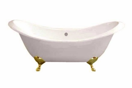 CAST IRON 6' PEG LEG DOUBLE ENDED SLIPPER TUB W/O FAUCET HOLES.  INCLUDES SUPERCOAT BRASS LEGS picture