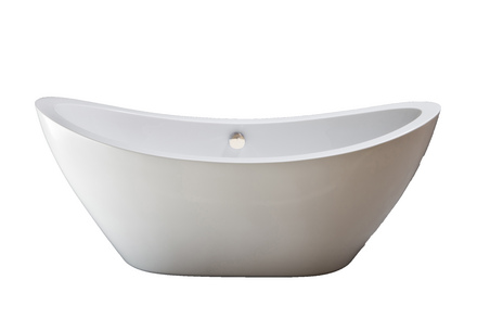 """ACRYLIC 65"""" TUB WITHOUT FAUCET HOLES.  INCLUDES MATTE NICKEL DRAIN picture"""