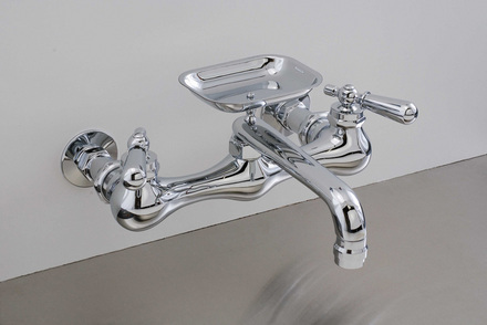 "CHROME WALL MOUNT KITCHEN FAUCET, 8"" picture"