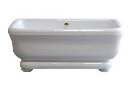 "ACRYLIC 70"" TUB WITH PEDESTAL ON LEGS, WITHOUT FAUCET HOLES. INCLUDES SUPERCOAT BRASS DRAIN TRIM picture"
