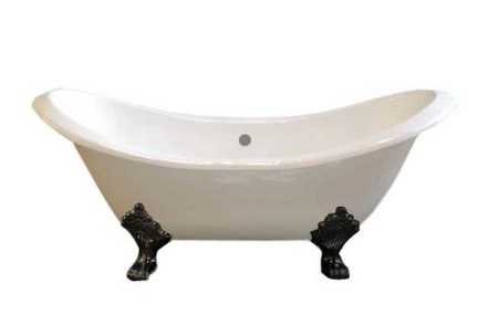 CAST IRON 6' DOUBLE ENDED SLIPPER TUB W/O FAUCET HOLES.  INCLUDES OIL RUBBED BRONZE LEGS picture