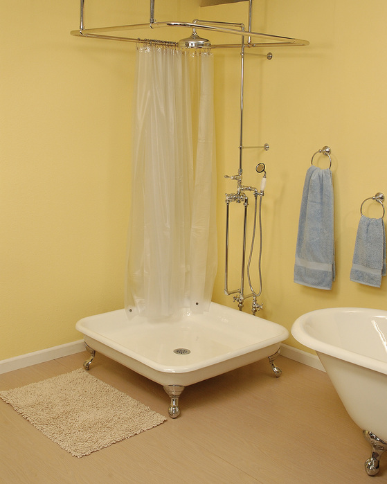 CAST IRON SHOWER PAN WITH CHROME LEGS Picture