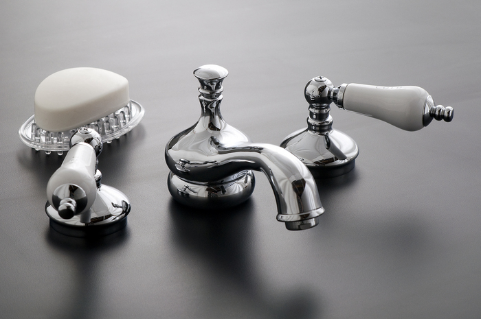 Signature Hardware Victorian Widespread Bathroom Faucet: CHROME WIDESPREAD LAVATORY FAUCET SET WITH PORCELAIN LEVER
