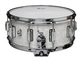 """Rogers Dyna-Sonic 6.5"""" x 14"""" Classic Snare Drum with Beavertail Lugs - White Marine Pearl"""