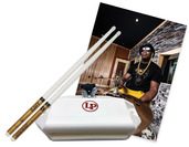 Daru Jones Triple White DJ3W Drumsticks and a White LP Jam Block