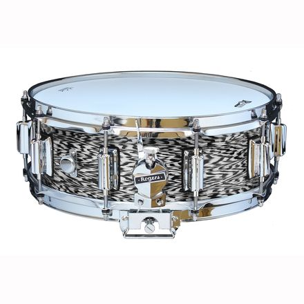 """Rogers Dyna-Sonic 5"""" x 14"""" Classic Snare Drum with Beavertail Lugs - Black Onyx picture"""