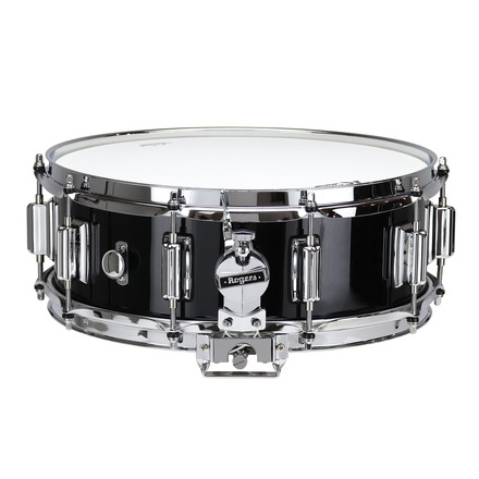 """Rogers Dyna-Sonic 5"""" x 14"""" Classic Snare Drum with Beavertail Lugs - Black Lacquer picture"""