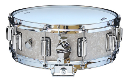 """Rogers Dyna-Sonic 5"""" x 14"""" Classic Snare Drum with Beavertail Lugs - White Marine Pearl picture"""