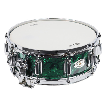"""Rogers Dyna-Sonic 5"""" x 14"""" Classic Snare Drum with Beavertail Lugs - Green Marine Pearl picture"""