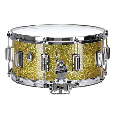 """Rogers Dyna-Sonic 6.5"""" x 14"""" Classic Snare Drum with Beavertail Lugs - Gold Sparkle Lacquer picture"""