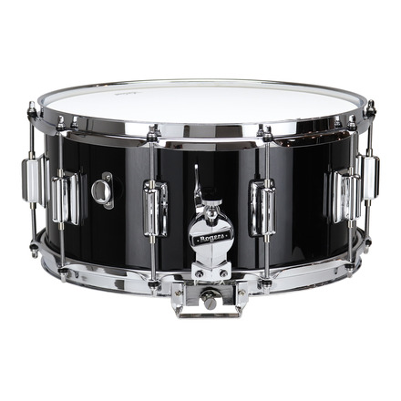 """Rogers Dyna-Sonic 6.5"""" x 14"""" Classic Snare Drum with Beavertail Lugs - Black Lacquer picture"""