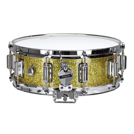 """Rogers Dyna-Sonic 5"""" x 14"""" Classic Snare Drum with Beavertail Lugs - Gold Sparkle Lacquer picture"""