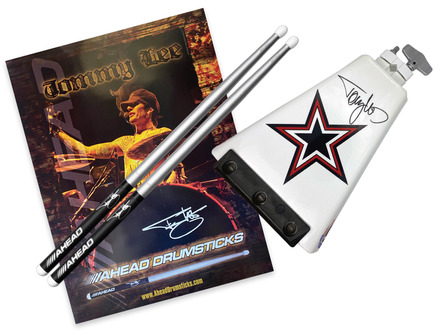 Tommy Lee Ridge Rider Cowbell w/ a Pair of TS Drumsticks & Vintage Tommy Lee Poster picture