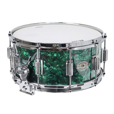 """Rogers Dyna-Sonic 6.5"""" x 14"""" Classic Snare Drum with Beavertail Lugs - Green Marine Pearl picture"""