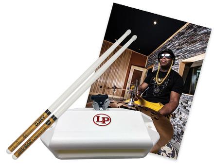 Daru Jones Triple White DJ3W Drumsticks and a White LP Jam Block picture