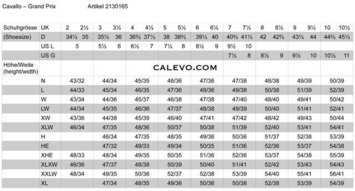 Cavallo Boot Chart picture