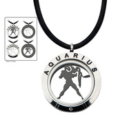 Reversible 4-Way Black IP & Steel Aquarius Zodiac Pendant