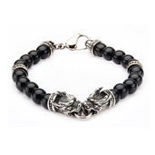 Stainless Steel Dragon Bite and Black Onyx Beads Bracelet.