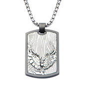 Hollis Bahringer Sandblasted Gun Metal Eagle Dog Tag Pendant with Chain