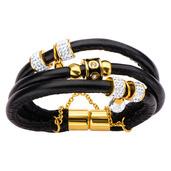 Multi Black Leather Bracelet with Teardrop Crystal Charm