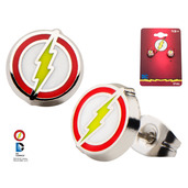 Stainless Steel Flash Enamel Logo Round Stud Earrings