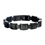 Hollis Bahringer Men's  Black IP with Black-A 2.5 diamond Link Bracelet