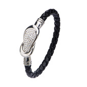 Black Italian Leather Bracelet