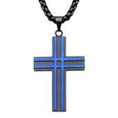 Black & Blue IP Matte Layer Cross Pendant